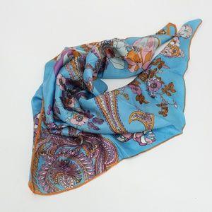 Vintage Blue & Orange Paisley Floral Scarf